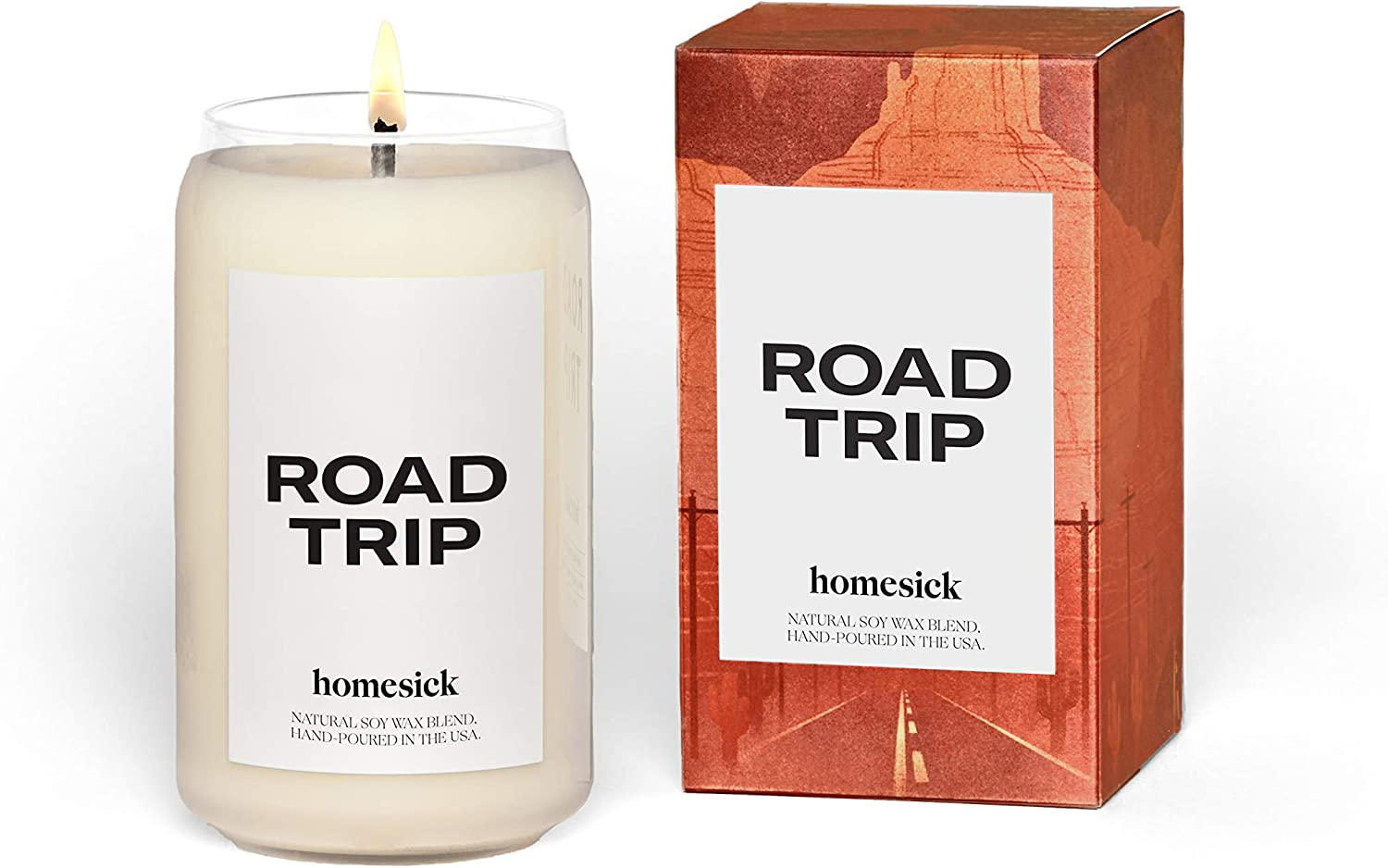 Homesick Scented Candle, Road Trip - Scents of Lime, Leather, Marine, 13.75 oz