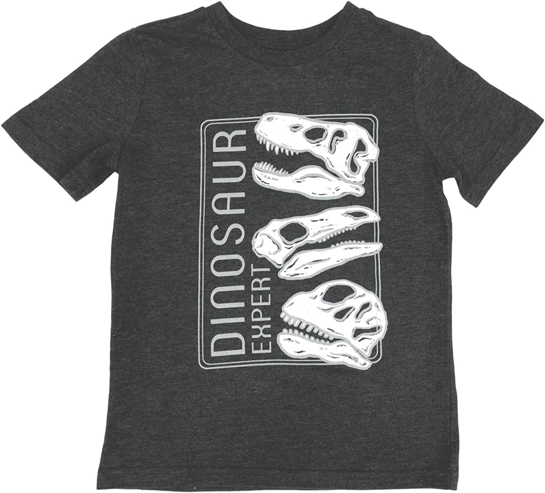 Jumping Beans Boys Gray Short Sleeve Dinosaur Expert T-Rex Tee Shirt T-Shirt