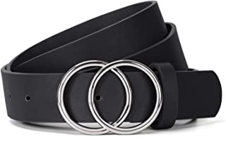 JasGood Damen Ledergürtel Mode Doppel O-Ring Schnalle Gürtel für Jeans Hosen Kleider