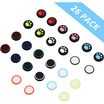 26 Pieces Replacement Thumb Grips Caps Cover Silicone Luminous Analog Controller Joystick Thumb Stick Cap Compatible with PS5 PS4 PS3 PS2 Xbox 360 Xbox One Controllers