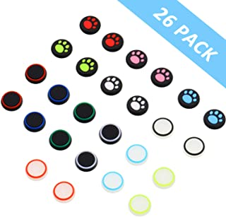 26 Pieces Thumb Grips Caps Cover Silicone Luminous Analog Controller Joystick Thumb Stick Cap, Compatible with PS4 PS3 PS2...