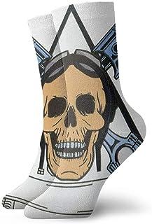 Cráneo de jinetes Calcetines cortos transpirables Calcetines clásicos de algodón de 30 cm para hombres Mujeres Yoga Senderismo Ciclismo