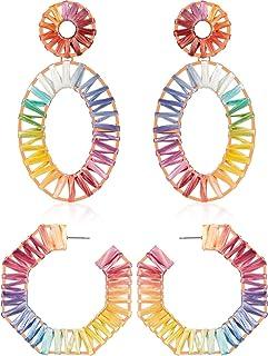Pendientes Geométricos Octagon Aros de Arco Iris Rafia Pendientes Hechos a Mano Pendientes Coloridos Colgantes de