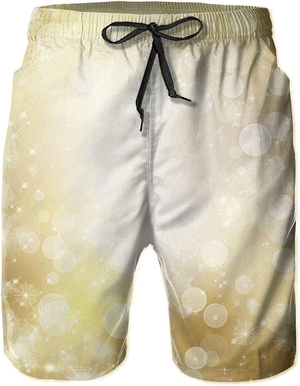 Hello Gorgeous Men's Swim Trunks Golden Bubble Quick Dry Beach Shorts with Pockets