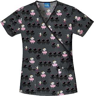 Scrub HQ 4826C Women's Cotton Mock Wrap Print Scrub Top