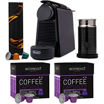 Nespresso Essenza Mini Original Espresso with Aeroccino Milk Frother and Intenso Dark Roast Coffee Capsules (40 Capsules) Bundle (3 Items)