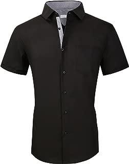 Mens Short Sleeve Dress Shirts Regular Fit Business Casual Button Down Shirt