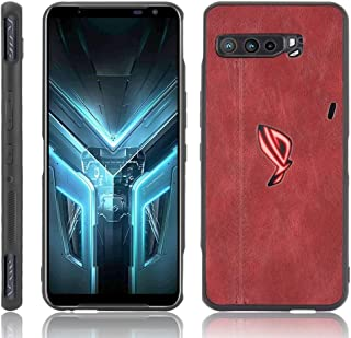 QGT For Asus ZS661KS/ ROG Phone 3 Strix Shockproof Sewing Cow Pattern Skin PC + PU + TPU Case (Color : Red)