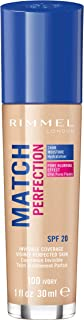 Rimmel London, Match Perfection Mosturizing Foundation, 100 Ivory, 30 ml