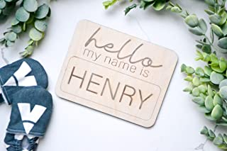 Hello My Name Is Baby Announcement Newborn Baby Name Boy Gender Reveal Wood Photo Prop
