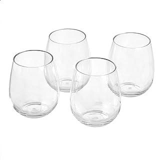 Amazon Basics Tritan Stemless Wine Glasses - 17.6-Ounce, Set of 4