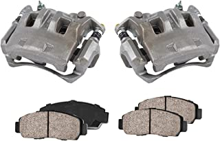 CCK11308 [2] FRONT Premium Loaded OE Caliper Assembly Set + Ceramic Brake Pads + Sensors