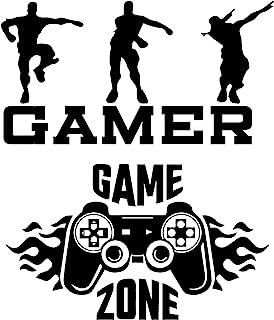 2Pcs Set Gamer Wandaufkleber, Aufkleber Boy Game Wanddekor und Kunstdekor für Wohnzimmer/Schlafzimmer/Küche & Esszimmer (2)