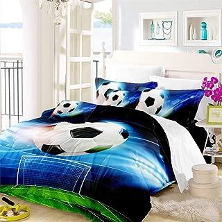 Oliven Duvet Cover Full Size,Soccer Bedding Blue Green Plagground Kids Football Quilt Cover 3 Pcs