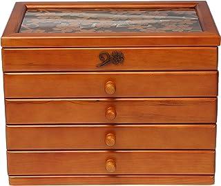 صندوق مجوهرات خشبي للنساء، صندوق منظم من الخشب الصلب للمجوهرات والساعات والعقود والخاتم وصندوق التخزين