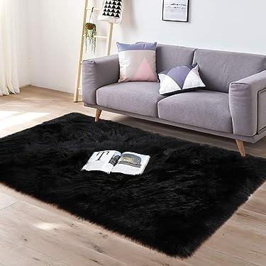 YJ.GWL Super Soft Faux Sheepskin Fur Area Rugs for Bedroom Living Room Floor Shaggy Plush Carpet Faux Fur Rug Bedside Rugs, 4 x 6 Feet Rectangle Black
