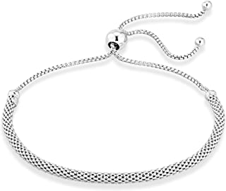 925 Sterling Silver Adjustable Bolo 3mm Mesh Chain Bracelet for Women Your Choice White or Yellow