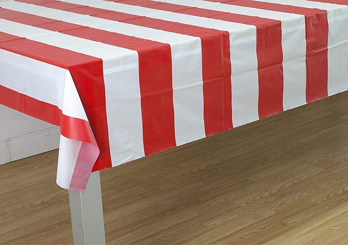 Oojami Red & White Stripes Carnival Theme Party Tablecover Pack of 3
