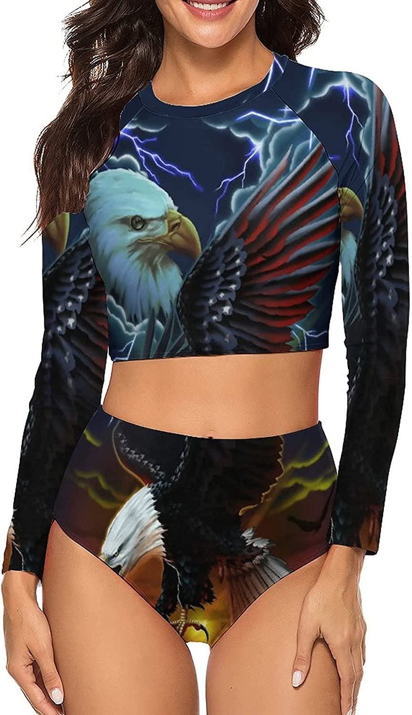 Tvsuh-u Women's Bathing Suit 2 PCS Two Eagle Flying Together Long Sleeve Rash Guard Swimsuits