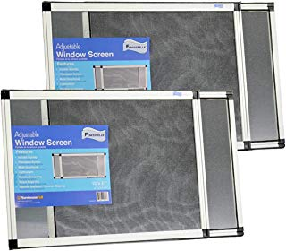 """Fenestrelle Expandable Window Screen, 2 Way Adjustable, Horizontal (15""""h fits 21-40""""w) or Convert to Vertical (21""""h fits 15-28""""w), 2 Pack"""