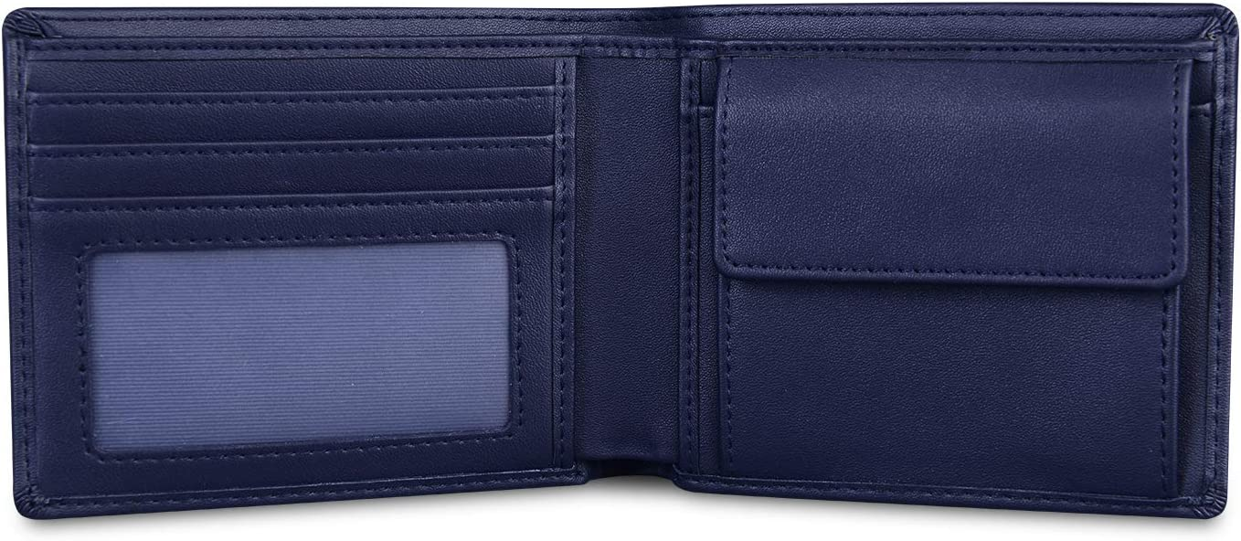 Wallets for Men Leather RFID Blocking Bifold Slim Money Clip Checkbook Credit Card Holder Wallet Blue with 2 ID Window