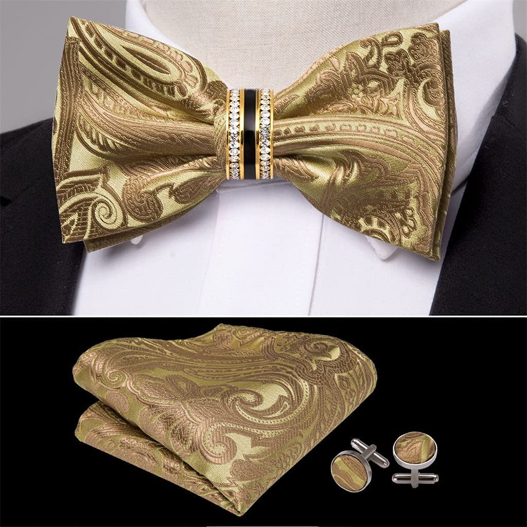 CDQYA Gold Silk Bow Tie For Men Wedding Accessories Adjustable Butterfly Handky Removable Diamond Ring Set (Color : Gold, Size : One size)