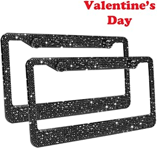 Bling License Plate Frames 2 Pack - Luxury Pure Handcrafted Bling Rhinestone Premium Stainless Steel License Plate Frame for Cars with Anti-Theft Screws Caps Set Black