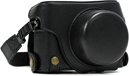 MegaGear Panasonic Lumix DMC-LX100 Ever Ready Leather Camera Case and Strap, with Battery Access - Black - MG661