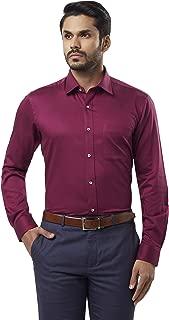 Raymond Solid Cotton Dark Violet Regular Fit Cutaway Collar Full Sleeve Shirt