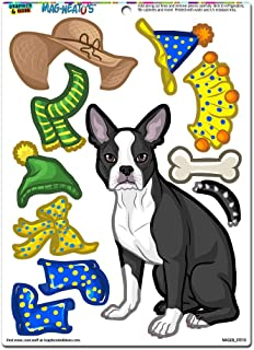 Boston Terrier Dress-Up - Dog Pet Funny Novelty Gift Paper Doll Locker Refrigerator Vinyl Magnet Set