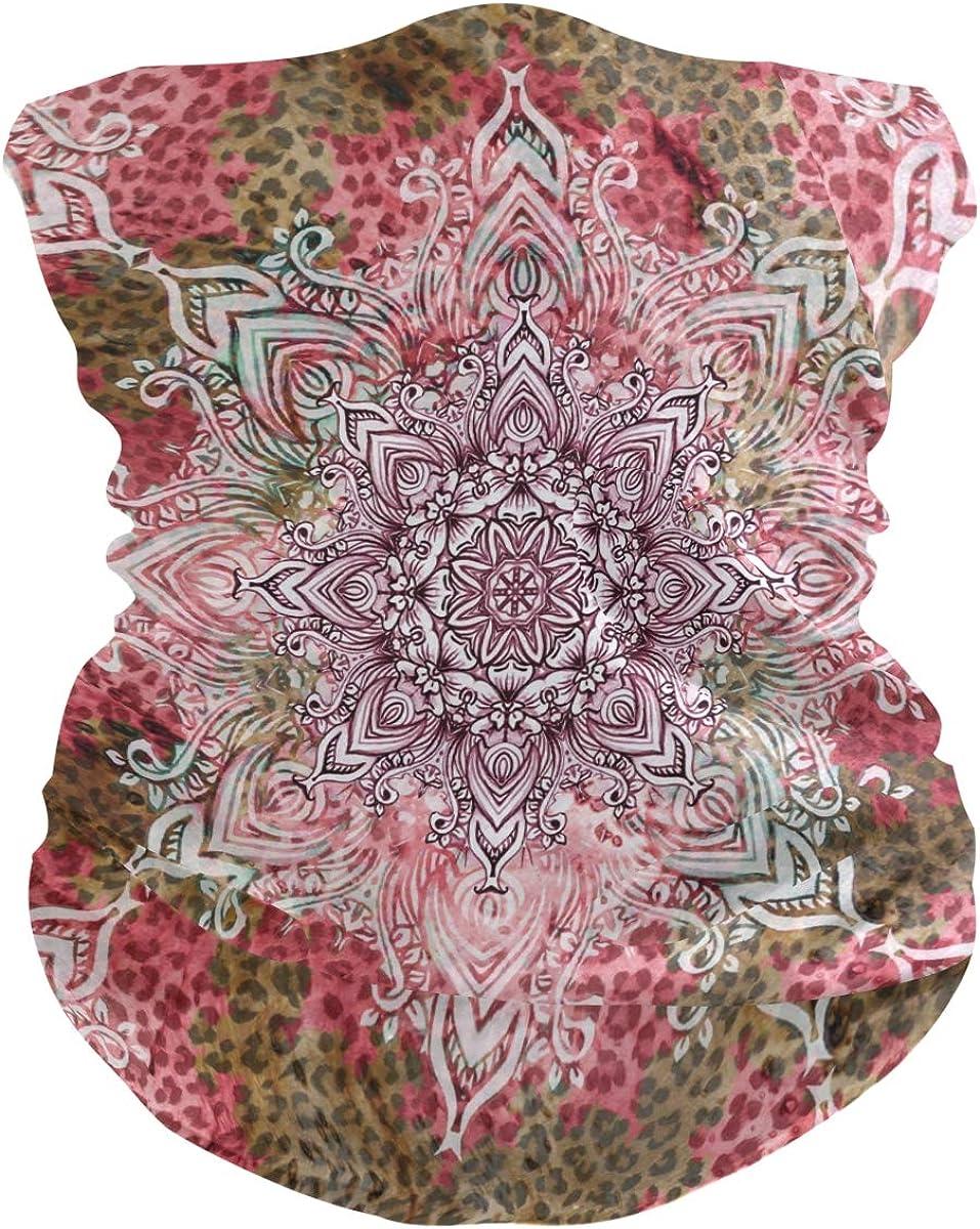 ALAZA Leopard Print Floral Mandala Headwear Magic Scarf Headband Bandana Neck Gaiters Outdoor Sports for Women Man