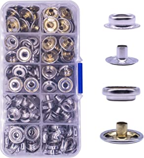 Snap Fasteners Kit Cloth Snap Fastener Setter Tool Repair Kit for Leather Boat Canvas Cover Heavy Duty Replacement Snap Buttons 120 Pcs Stainless Steel Marine Screws Snaps Button Setting Machine