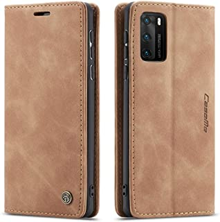 Flip Leather Case For Huawei P40 PRO From CaseMe,Cover Leather case (Light Brown)