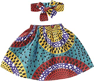 Toddler Kids Baby Girl African Ethnic Style Printed Tradition Short Skirt +Headband 2Pcs Sets