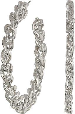 Polished Silver Link Hoop Pierced Earrings