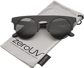 Modern Flat Top Horn Rimmed Round Flat Lens Semi Rimless Sunglasses 48mm