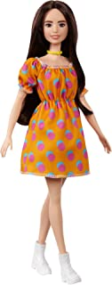 Barbie Fashionistas Doll with Brunette Hair Polka Dot Off-the-Shoulder Dress, Toy for Kids 3 to 8 Years Old