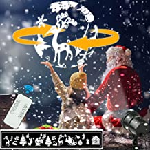 Christmas Snowflake Projector Lights, 3D Rotating LED Snowfall Projection Lamp with Remote Control, Outdoor Waterproof Sparkling Landscape Decorative Lighting for Holiday Halloween Xmas Party