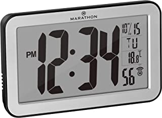 Marathon Commercial Grade Panoramic Autoset Atomic Digital Wall Clock with Table or Desk..