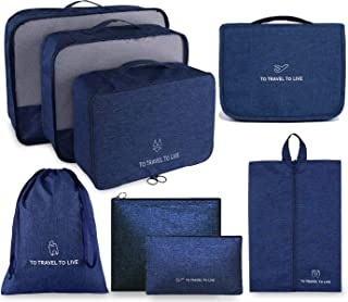 Travel Packing Organizers, 8 Set Luggage Packing Cubes for Carry On Suitcases with Waterproof Toiletry Laundry Bag, Navy Bule