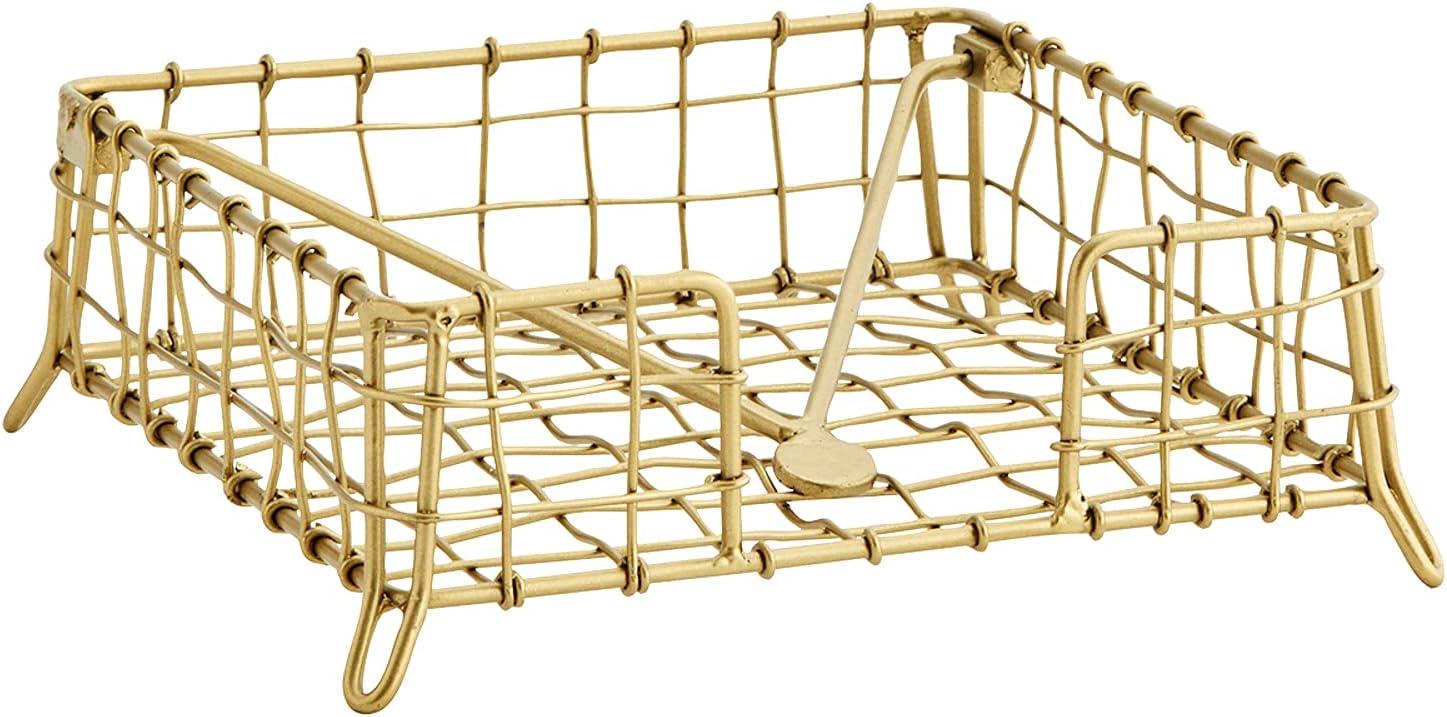 MACOSA MS27267 - Servilletero de metal dorado antiguo con filigrana, diseño vintage
