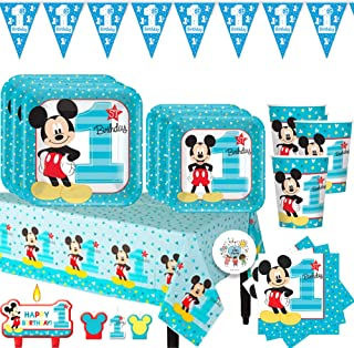 Mickey Mouse Fun to Be One First Birthday Party Essentials Pack For 16 With Dinner and Dessert Plates, Napkins, Tablecover, Cups, 1st Birthday Pennant Banner, Candles and Exclusive Pin