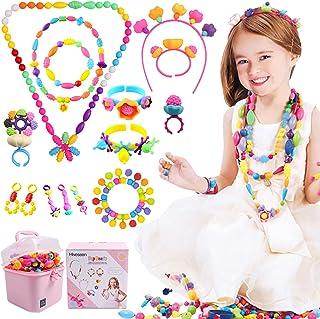 Hiveseen Pop Perles, Kit de Enfant Bricolage Création Bijoux avec Ongles Autocollants, Kit Perles de Loisir Créatif Enfant...