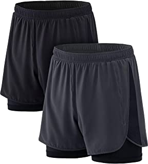 ATHLIO Men's (Pack of 2) 5 inch Quick-Dry Mesh Liner Pace Running Shorts Jogging Marathon