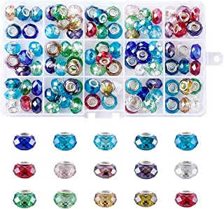 Pandahall 100pcs Glass European Beads Faceted Large Hole Spacer Snake Chains Slide Charms Big Beads for Earring Necklace Bracelet Jewelry Making with Brass Silver Core Mixed Color 14x9mm Hole: 5mm