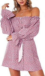 NANYUAYA Women Summer Dress Off Shoulder Fit Comfy Floral Casual Dresses 432378b60