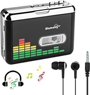USB Cassette to MP3 Converter, Portable Cassette Recorder Audio Music Player Tape-to-MP3 Converter Earphones No PC Required