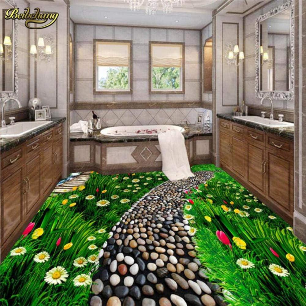 Flower Large discharge sale Prairie Custom Floor Tile Waterproof San Diego Mall Bathroom Wallpaper 3