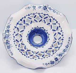 Lampadario Traforato diametro 25 centimetri Linea Fiori Blu Le Ceramiche del Castello Pezzo Unico Handmade Made in Italy