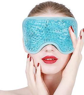 Masque Yeux Froid, Masque pour les Yeux en Gel, Sac de Glace Réutilisable avec Perles de Gel pour les Maux de Tête, les Po...